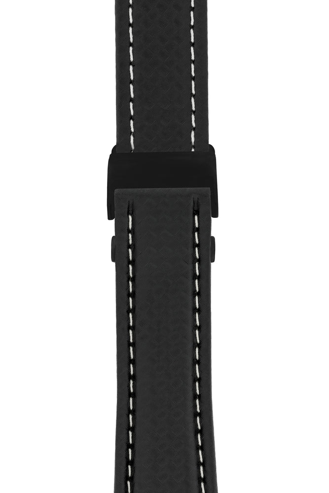 Breitling-Style Carbon-Embossed Leather Deployment Watch Strap in Black (with Black PVD-Coated Deployment Clasp)