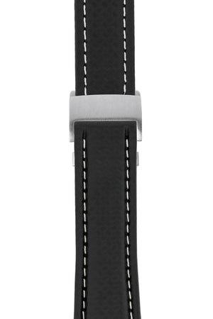 Breitling-Style Carbon-Embossed Leather Deployment Watch Strap in Black (with Brushed Silver Deployment Clasp)