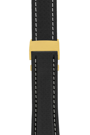 Breitling-Style Carbon-Embossed Leather Deployment Watch Strap in Black (with Polished Gold Deployment Clasp)