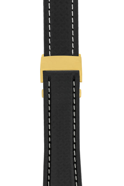 Breitling-Style Carbon-Embossed Deployment Watch Strap in BLACK