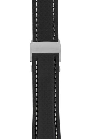 Breitling-Style Carbon-Embossed Leather Deployment Watch Strap in Black (with Polished Silver Deployment Clasp)