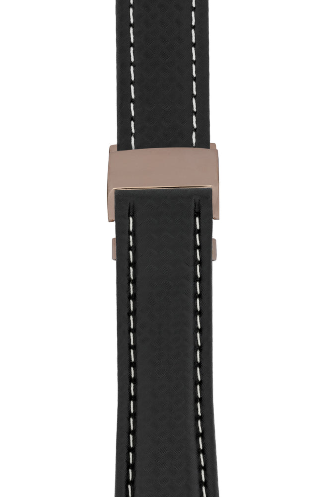 Breitling-Style Carbon-Embossed Leather Deployment Watch Strap in Black (with Polished Rose Gold Deployment Clasp)