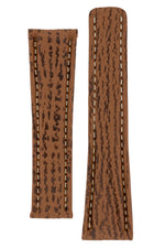 Breitling-Style Shark Deployment Watch Strap in HONEY BROWN