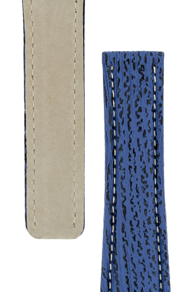 Breitling-Style Sharkskin Leather Deployment Watch Strap in Night Blue (Tapers)