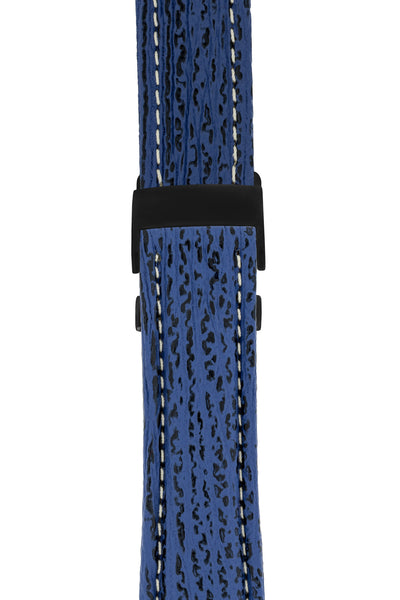 Breitling-Style Sharkskin Leather Deployment Watch Strap in Night Blue (with Black PVD-Coated Deployment Clasp)