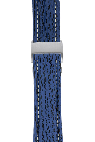 Breitling-Style Sharkskin Leather Deployment Watch Strap in Night Blue (with Brushed Silver Deployment Clasp)