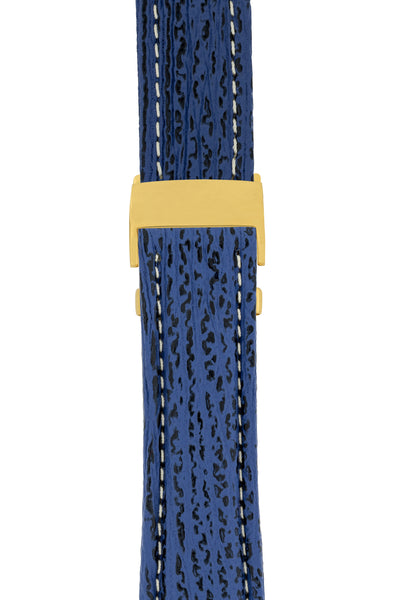 Breitling-Style Sharkskin Leather Deployment Watch Strap in Night Blue (with Polished Gold Deployment Clasp)
