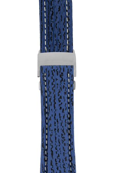 Breitling-Style Sharkskin Leather Deployment Watch Strap in Night Blue (with Polished Silver Deployment Clasp)
