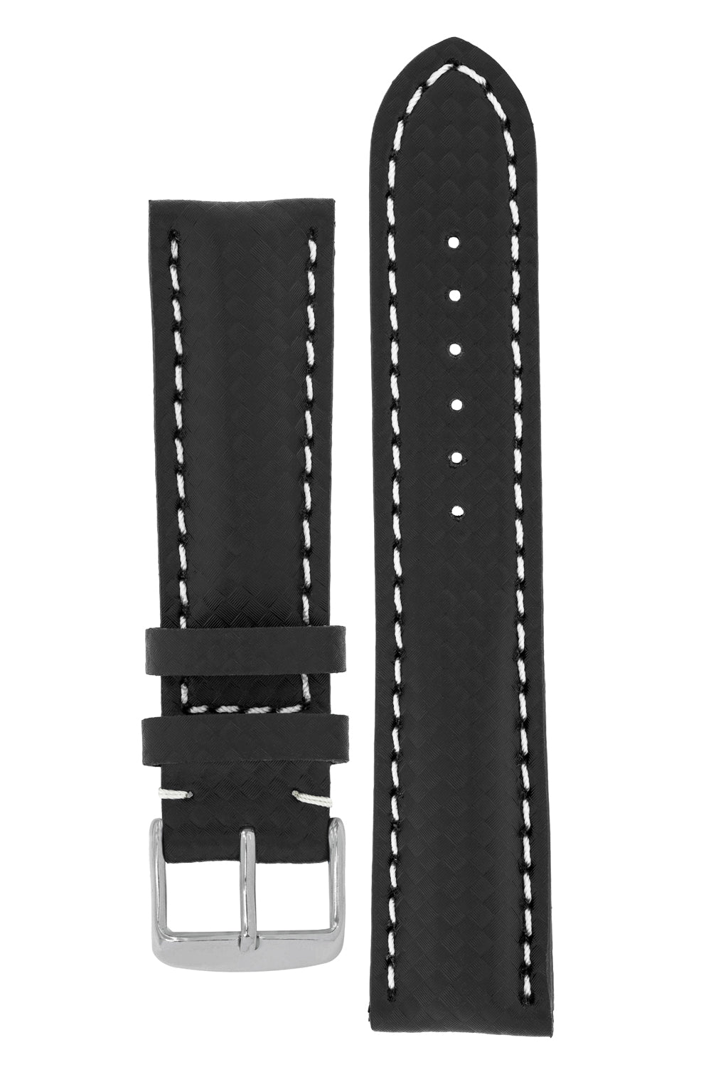 Breitling Style Carbon Leather Watch Strap and Buckle in BLACK