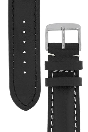 Breitling-Style Carbon-Embossed Leather Watch Strap and Buckle in Black (Tapers)