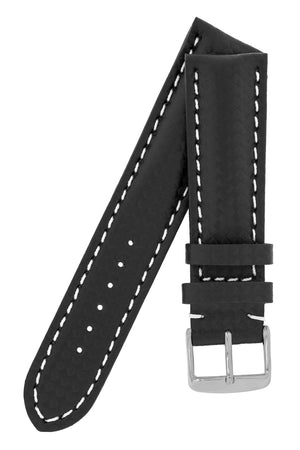 Breitling-Style Carbon-Embossed Leather Watch Strap and Buckle in Black