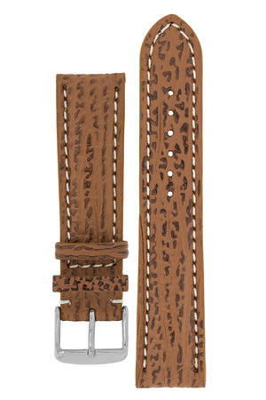 Breitling-Style Shark Watch Strap and Buckle in HONEY BROWN