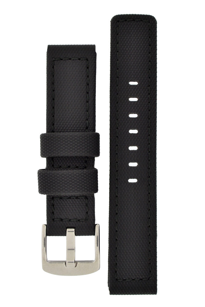 WatchObsession BALLISTIC PU Sport Watch Strap in BLACK / BLACK