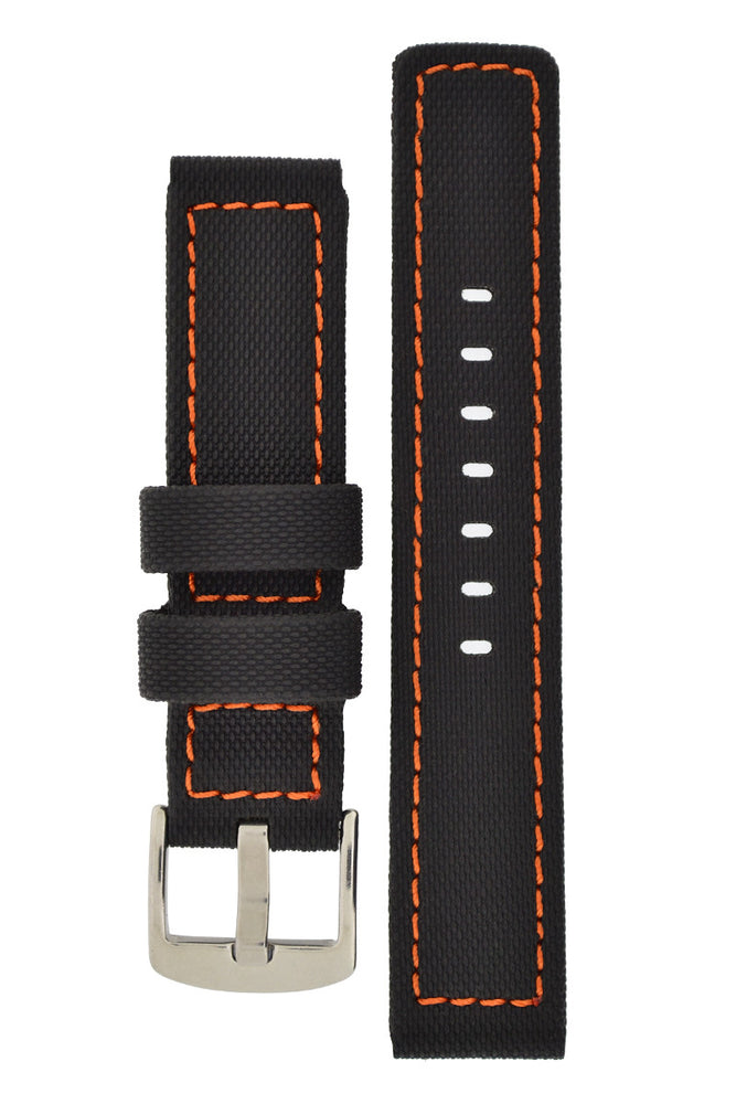 Load image into Gallery viewer, WatchObsession BALLISTIC PU Sport Watch Strap in BLACK / ORANGE