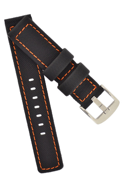 WatchObsession BALLISTIC PU Sport Watch Strap in BLACK / ORANGE
