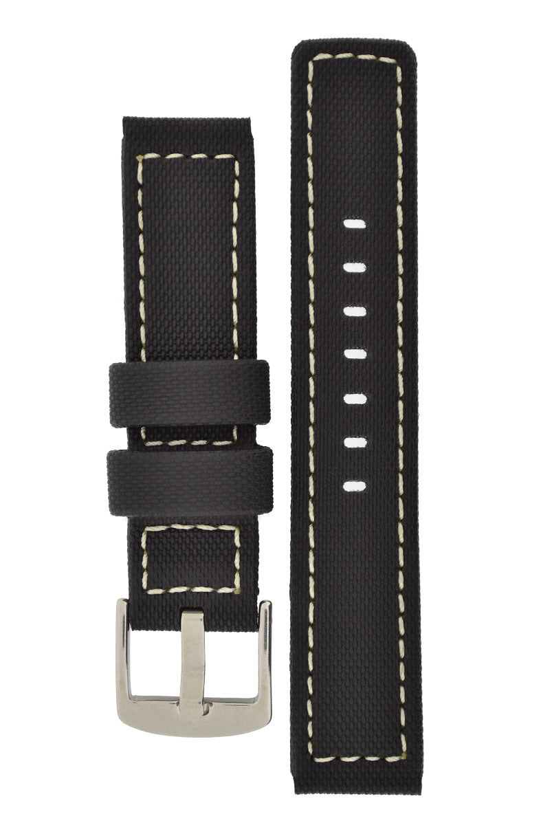 WatchObsession BALLISTIC PU Sport Watch Strap in BLACK / WHITE