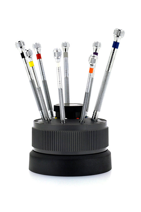 Bergeon 9-Piece Screwdriver Set on a Rotating Stand - 0.5mm - 2.5mm - 5970