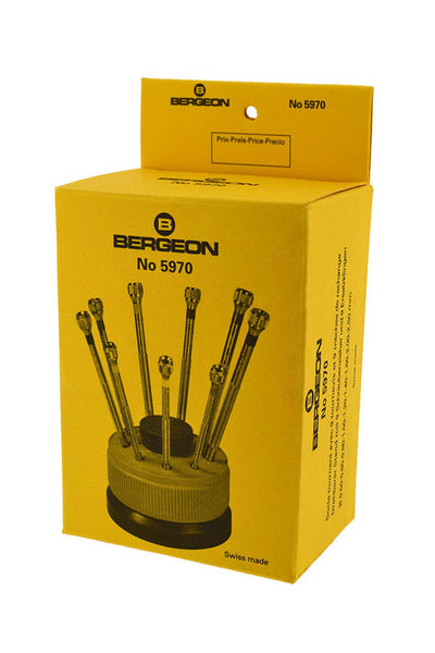 Bergeon 9-Piece Screwdriver Set on a Rotating Stand - 5970 (Boxed)