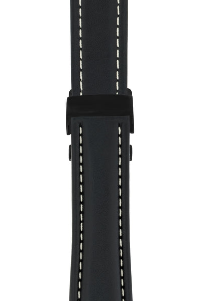 Breitling-Style Calf Deployment Watch Strap in BLACK