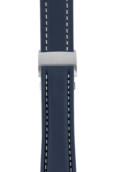 Breitling-Style Calf Deployment Watch Strap in BLUE