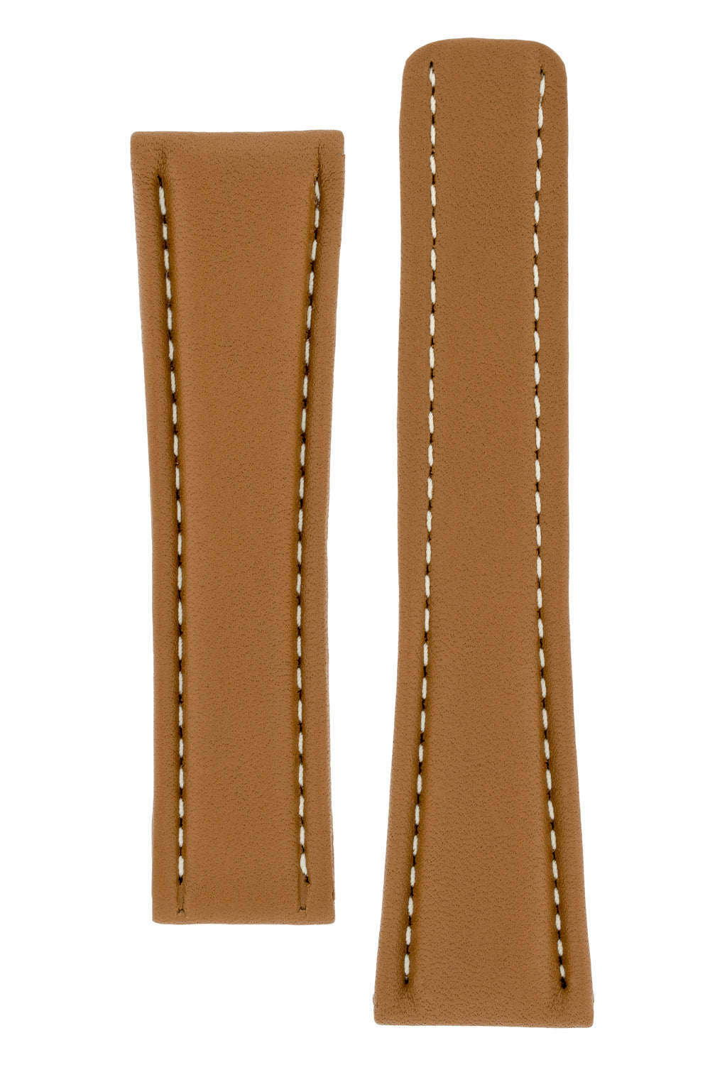 Breitling-Style Calf Deployment Watch Strap in CARAMEL
