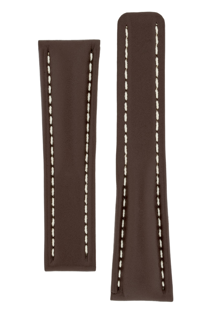 Breitling-Style Calf Deployment Watch Strap in CHOCOLATE