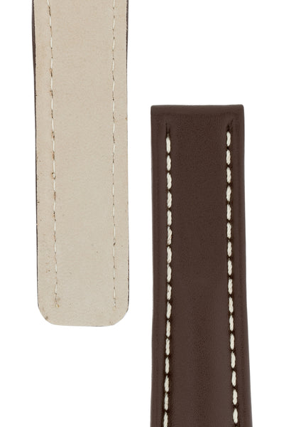 Breitling-Style Calfskin Deployment Watch Strap in Chocolate Brown (Tapers)