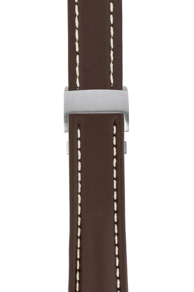 Breitling-Style Calfskin Deployment Watch Strap in Chocolate Brown (with Brushed Silver Deployment Clasp)