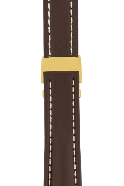Breitling-Style Calfskin Deployment Watch Strap in Chocolate Brown (with Polished Gold Deployment Clasp)