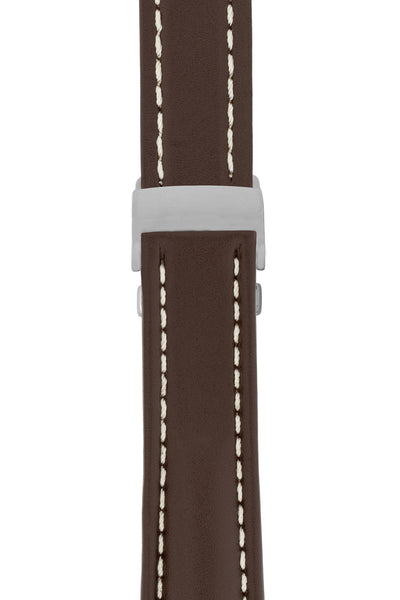 Breitling-Style Calfskin Deployment Watch Strap in Chocolate Brown (with Polished Silver Deployment Clasp)