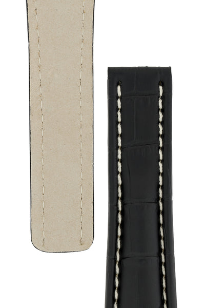 Breitling-Style Alligator-Embossed Deployment Watch Strap in Black (Tapers)