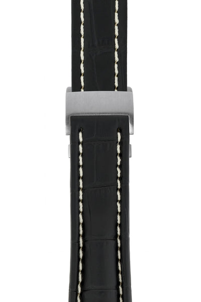 Breitling-Style Alligator-Embossed Deployment Watch Strap in Black (with Brushed Silver Deployment Clasp)