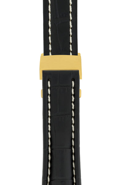 Breitling-Style Alligator-Embossed Deployment Watch Strap in Black (with Polished Gold Deployment Clasp)