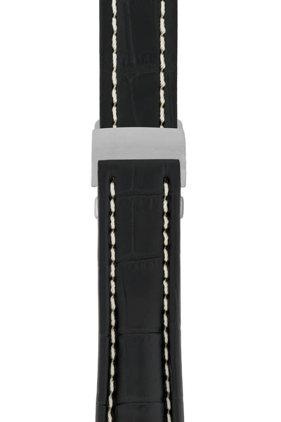 Breitling-Style Alligator-Embossed Deployment Watch Strap in Black (with Polished Silver Deployment Clasp)