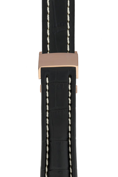 Breitling-Style Alligator-Embossed Deployment Watch Strap in Black (with Polished Rose Gold Deployment Clasp)