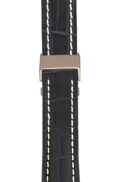Breitling-Style Alligator-Embossed Deployment Watch Strap in BLUE