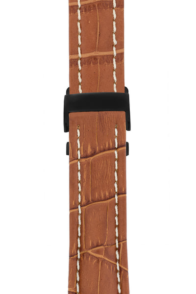 Breitling-Style Alligator-Embossed Deployment Watch Strap in BROWN