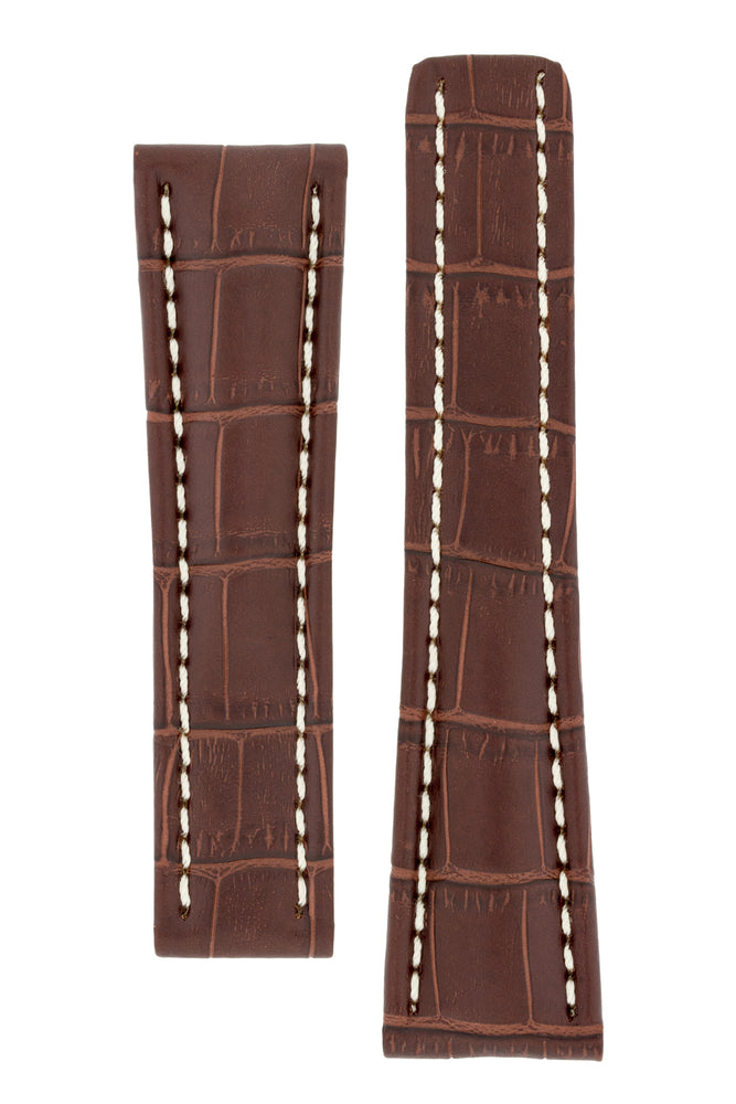 Breitling-Style Alligator-Embossed Deployment Watch Strap in TABAC