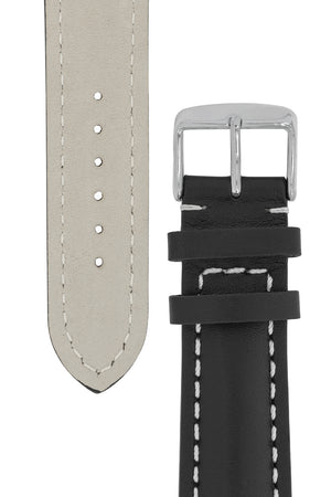 Breitling-Style Calfskin Leather Watch Strap and Buckle in Black (Tapers)