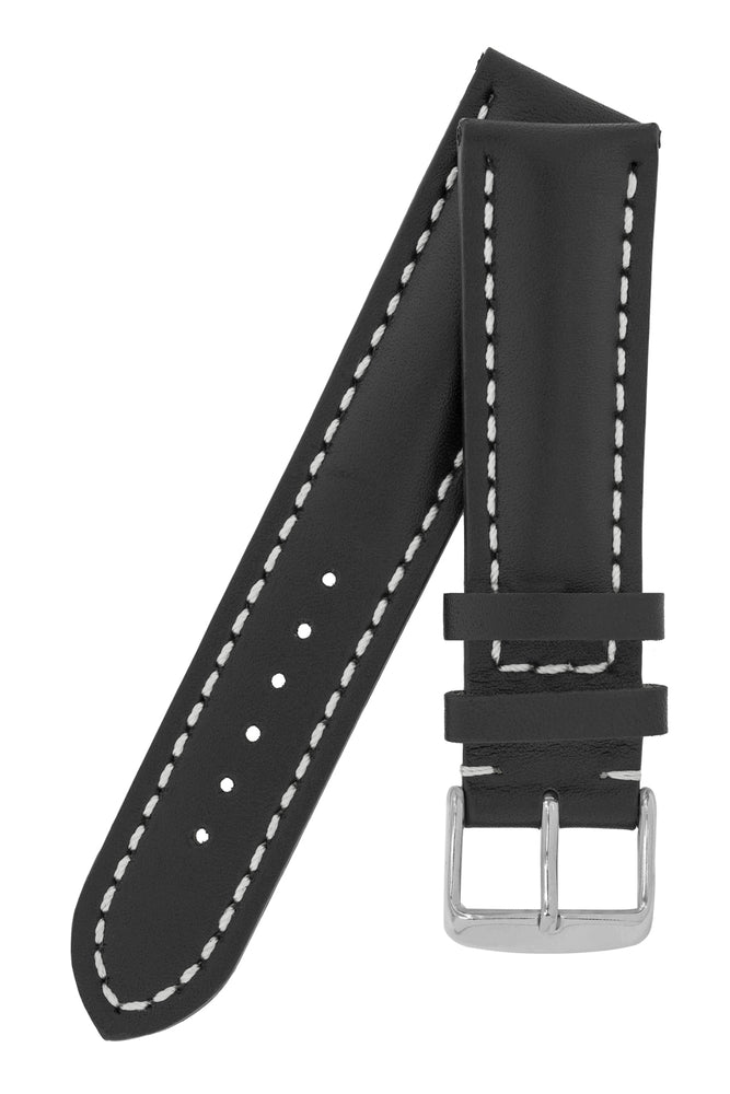 Breitling-Style Calfskin Leather Watch Strap and Buckle in Black