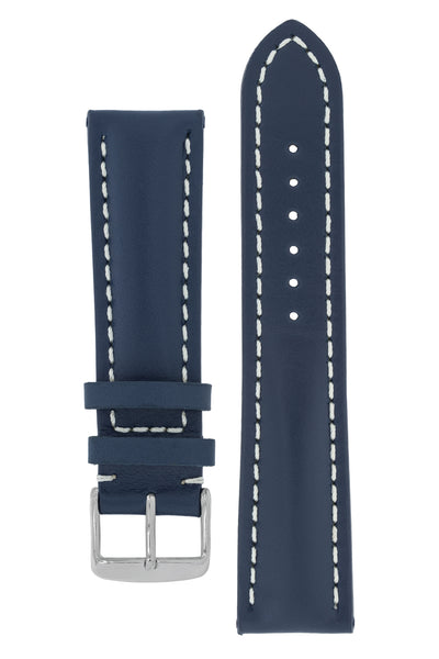 Breitling-Style Calfskin Leather Watch Strap and Buckle in Blue