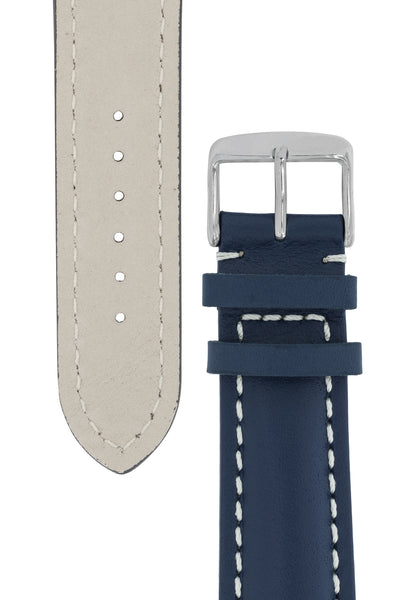 Breitling-Style Calfskin Leather Watch Strap and Buckle in Blue (Tapers)