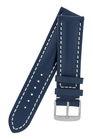 Breitling-Style Calf Leather Watch Strap and Buckle in BLUE