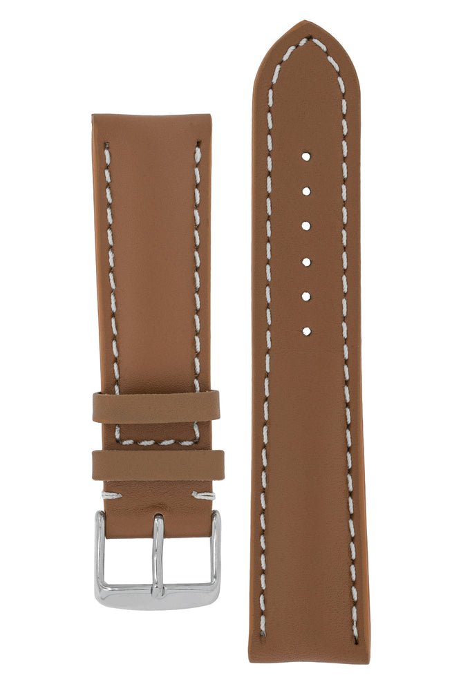 Breitling-Style Calf Leather Watch Strap and Buckle in CARAMEL