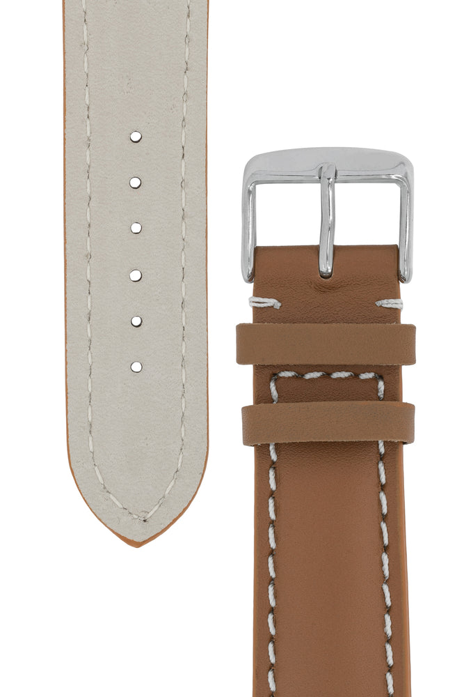 Breitling-Style Calfskin Leather Watch Strap and Buckle in Caramel Brown (Tapers)