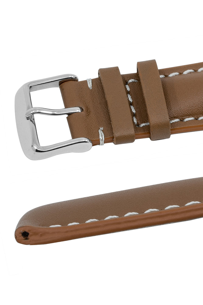 Breitling-Style Calfskin Leather Watch Strap and Buckle in Caramel Brown