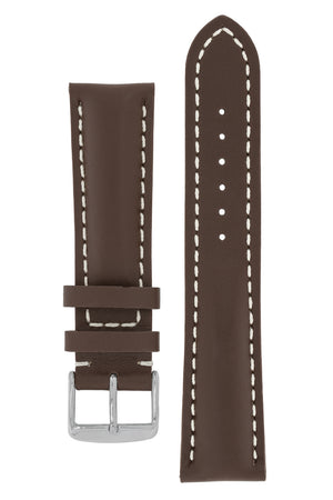 Breitling-Style Calf Leather Watch Strap and Buckle in CHOCOLATE