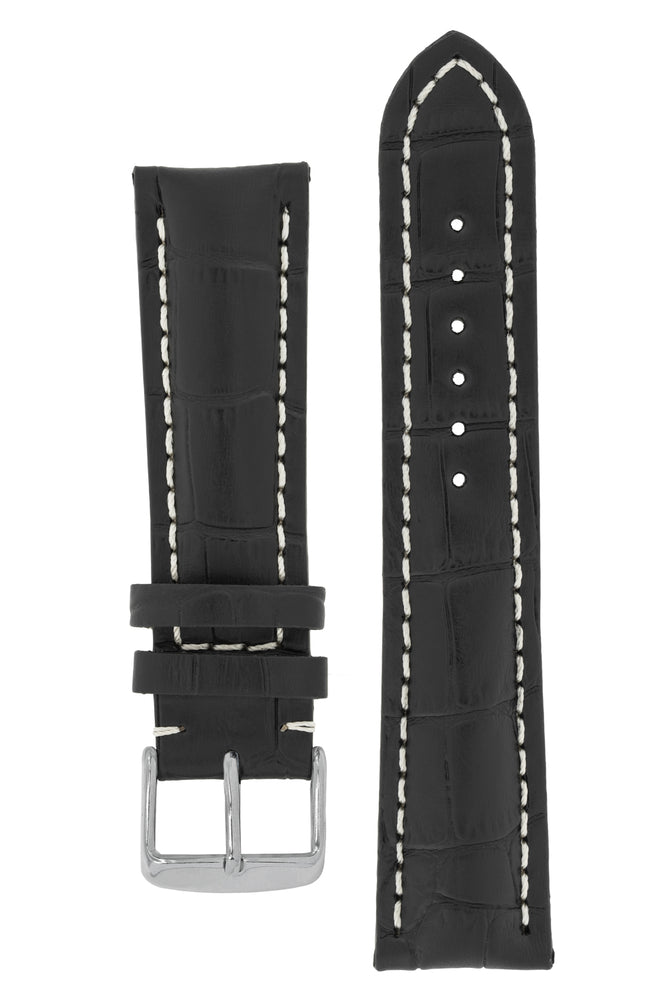 Breitling-Style Alligator-Embossed Watch Strap and Buckle in BLACK