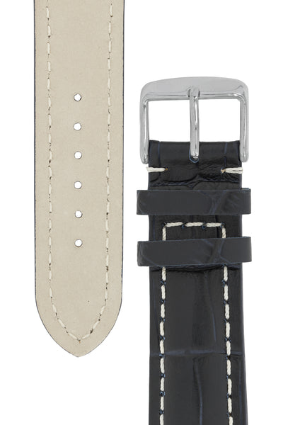 Breitling-Style Alligator-Embossed Watch Strap and Buckle in BLUE