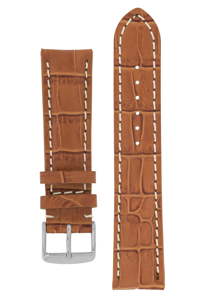 Breitling-Style Alligator-Embossed Watch Strap and Buckle in BROWN